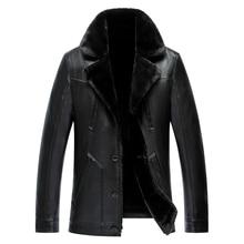 2016 New Brand Mens Wool Coat Genuine Sheepskin Jachet Slim Business Style Wool Liner Coat Winter Leather Jacket Men XXXL