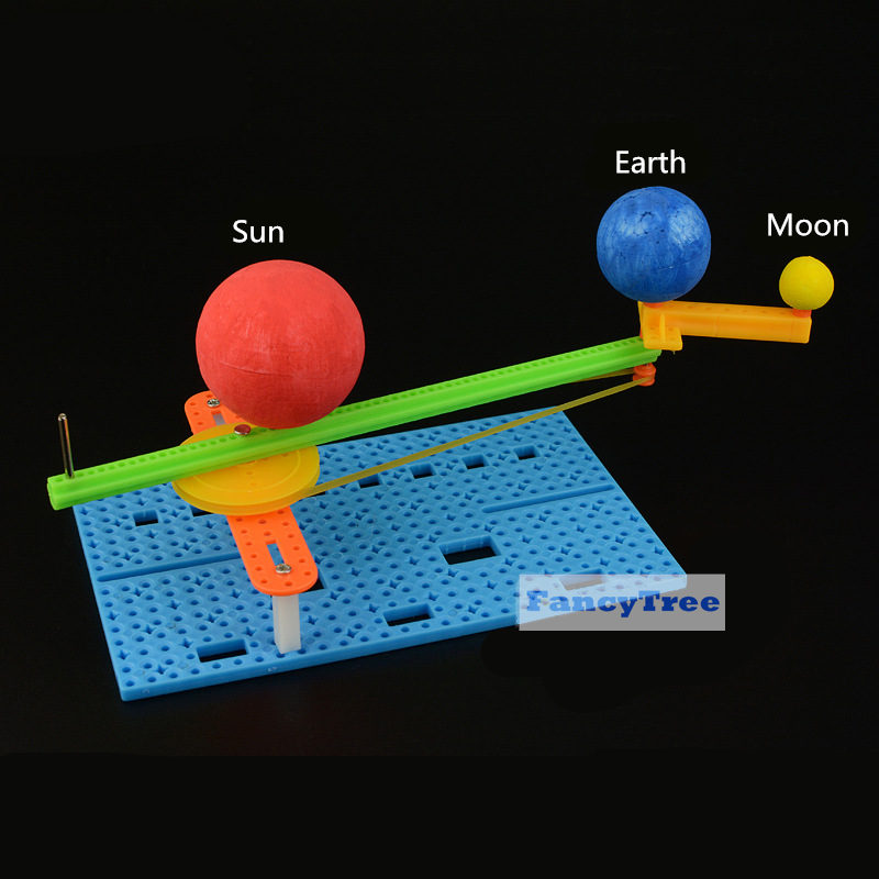 DIY Simple Sun Earth Moon Model  Science Creative Small Gizmo Kids Handmade Puzzle Assembled Toy  Physics Teaching Resources