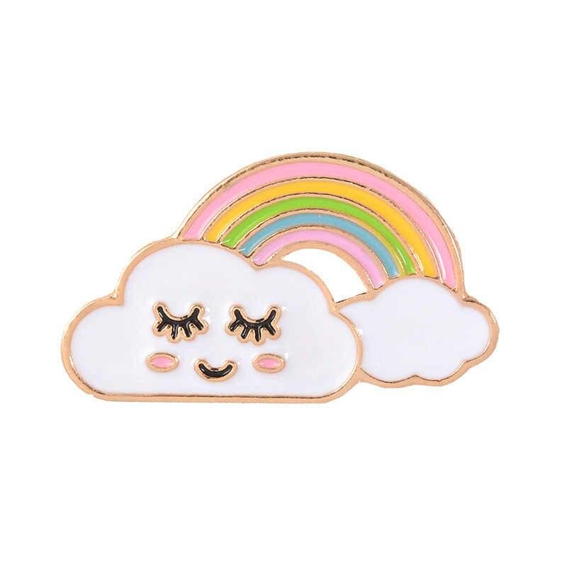 9 Warna 1PC Kartun Cuterainbow dan Awan Enamel Pin Rainbow Fashion Logam Bros Pin Lencana untuk Wanita Pria Anak hadiah