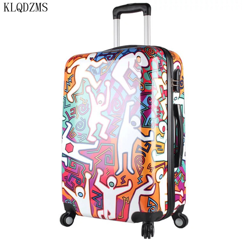 KLQDZMS Trolley Suitcase Travel-Bag Rolling-Luggage Carry-On Student Wheels Spinner Cartoon