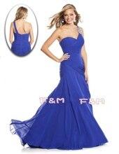 Freies Verschiffen Schöne Schulter Königsblau Perlen Strap Chiffon Prom Kleider Lange frauen Abendkleider Neue Mode 2014