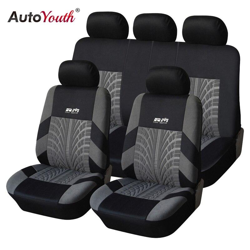 AUTOYOUTH Venta caliente 9 unids y 4 unids Universal funda de asiento de coche se adapta a la mayoría de los coches con detalles de pista de neumáticos Protector de asiento de coche