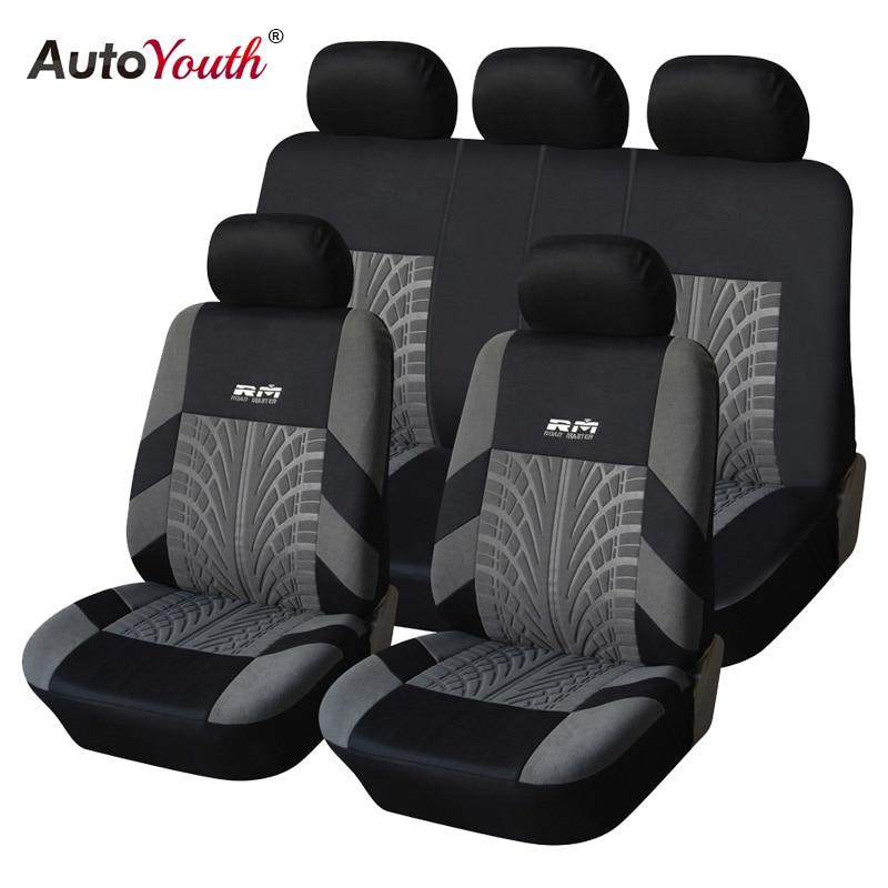 AUTOYOUTH gran venta 9 piezas y 4 piezas cubierta Universal del asiento del coche se adapta a la mayoría de los coches con detalles de la pista del neumático protector de asiento de coche de estilo