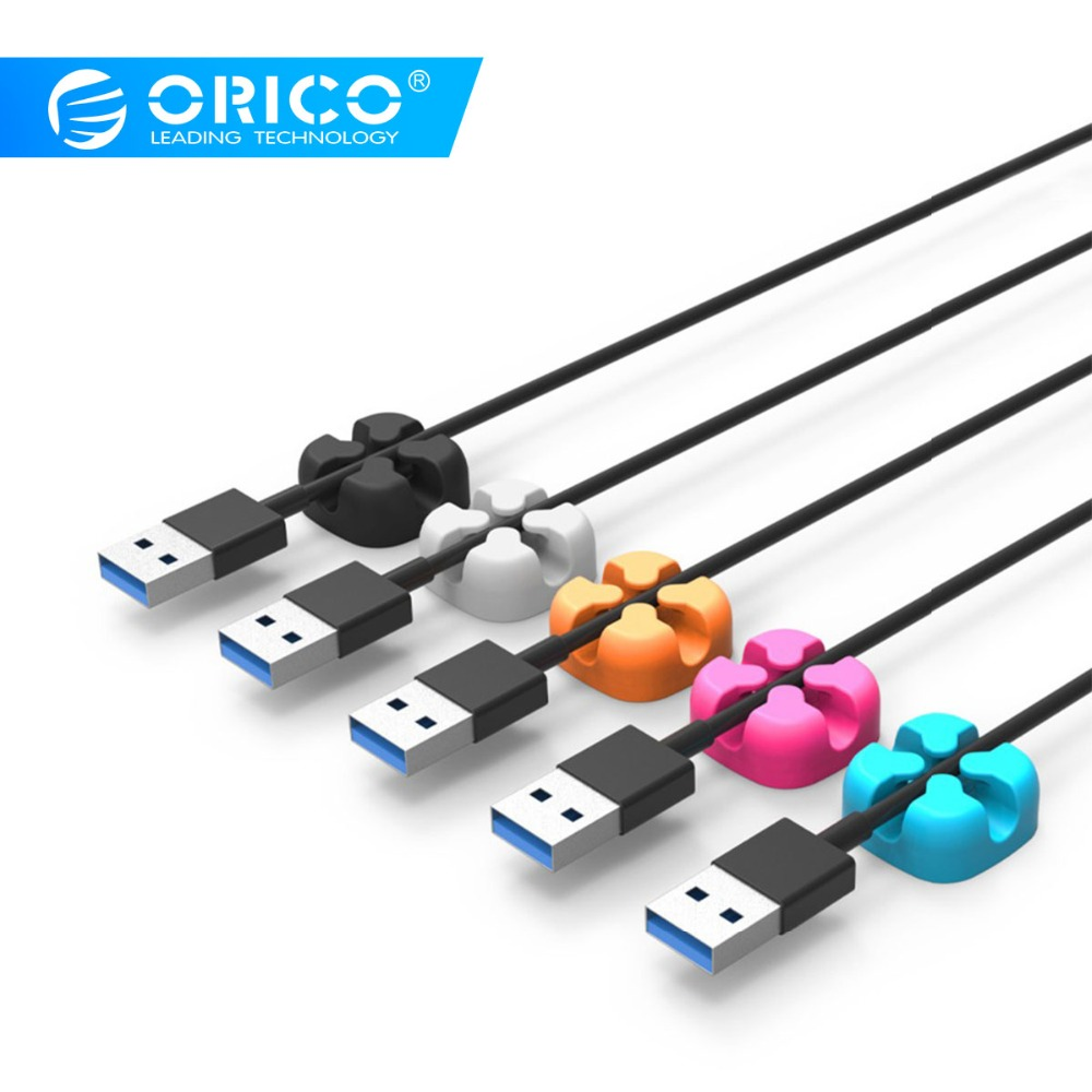 ORICO 10Pcs Colorful Cable Winder Wire Storage Silicon Cable Manager Holder Desk Tidy Organiser For Digital Cable Mouse Earphone