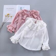 Новые рубашки для девочек коллекция года; сезон весна-лето; Модные Белые и розовые кружевные блузки для маленьких девочек милые топы с длинными рукавами и оборками; детская одежда