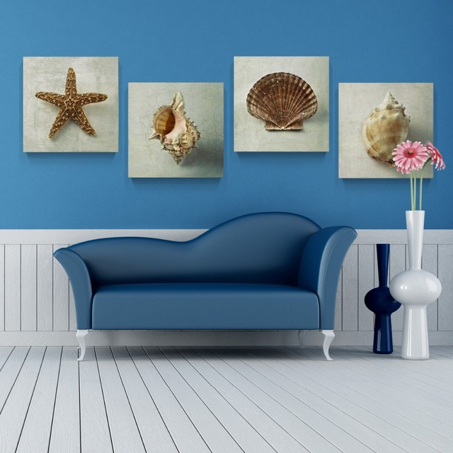 Canvas Painting 4panels The Sea Shells Painting Canvas Living Room Wall Art  Home Decoration Modern Painting