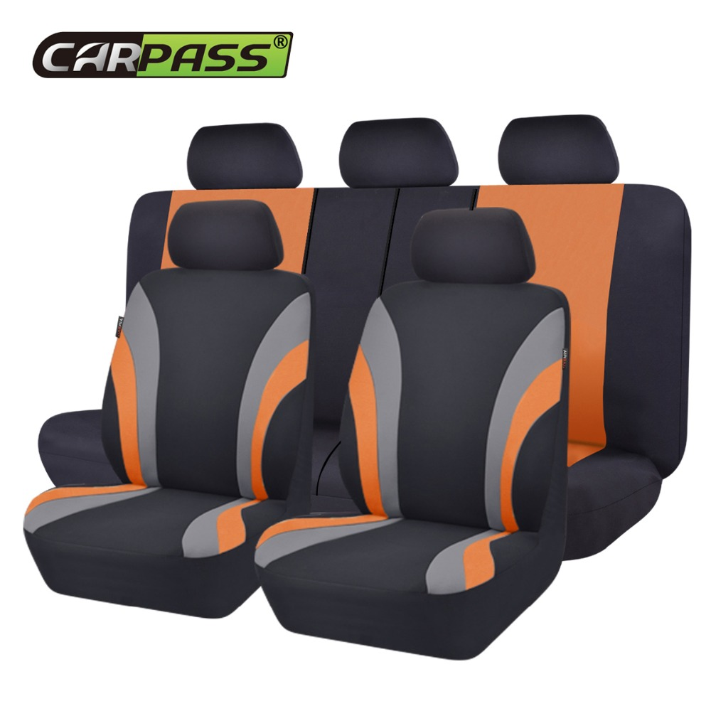Car-Pass Nye fargerike Sports Series bilsete deksler Universal Car Styling Full Set Interiør Car Airbag Kompatibel Seat Support