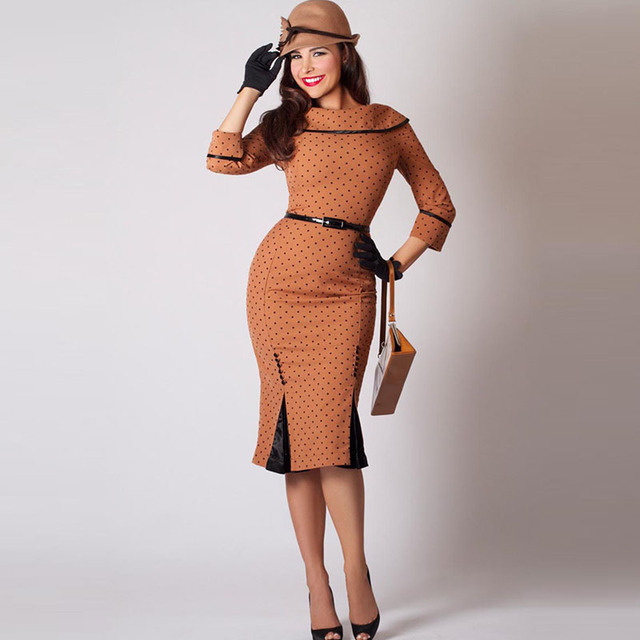 7523206eda33ba Women Polka Dot Pencil Dress Brown Bodycon Elegant Midi Dress Autumn Spring  Office Female Lady Sexy Lapel Vintage Dress