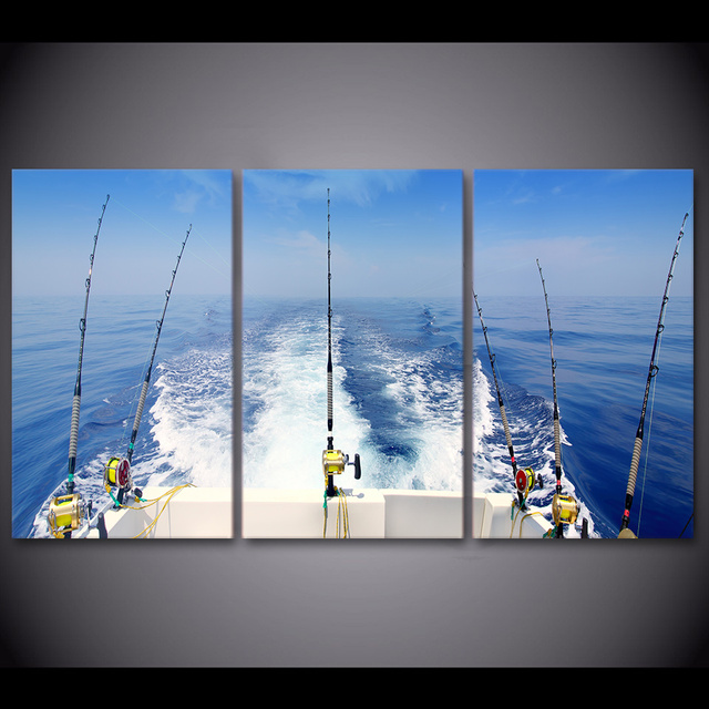 3 Panel Fishing Rod Pictures Frame