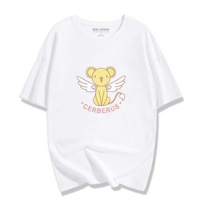Аниме довец карт Сакура Kinomoto хлопковые футболки для женщин футболка с круглым вырезом короткий рукав Летняя одежда топы тройники - Цвет: Pattern 2