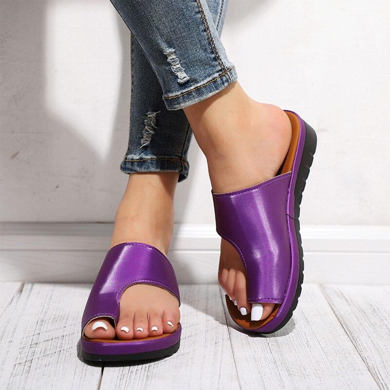 HTB1k2 IaECF3KVjSZJnq6znHFXaR MCCKLE Women Comfy Plain Shoes Flat Platform Ladies Casual Big Toe Foot Correction Sandals Orthopedic Bunion Corrector Flip Flop