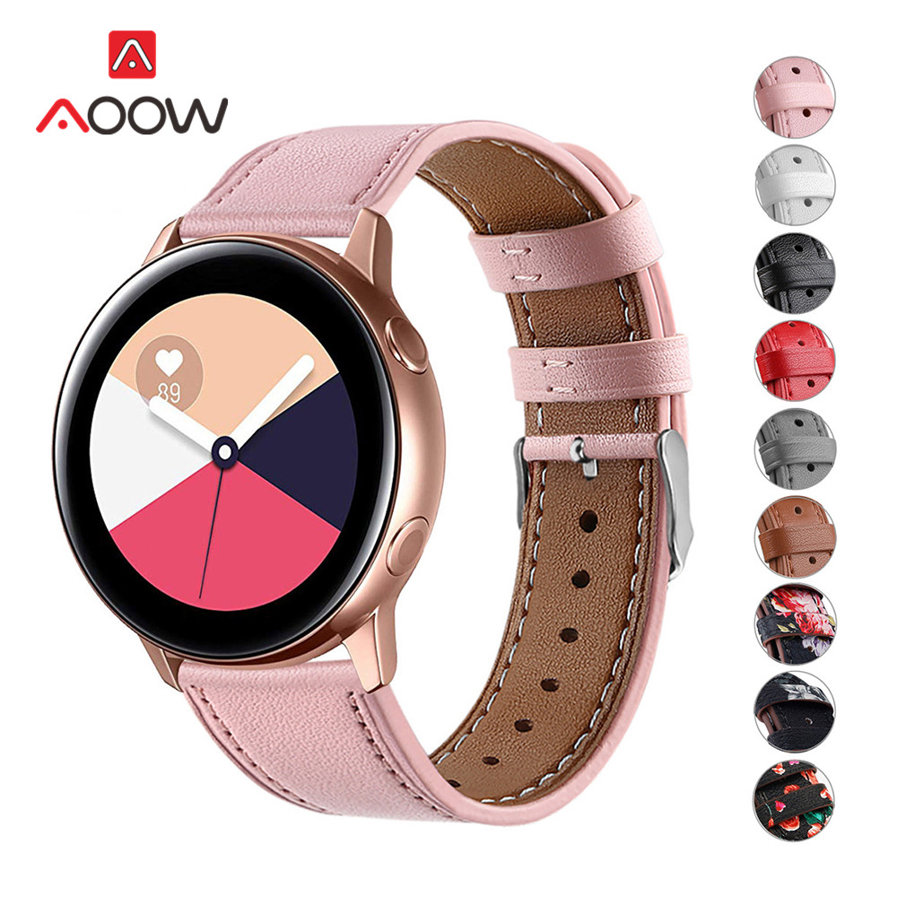 20mm Flower Printing Genuine Leather Strap For Samsung Galaxy Watch Active 42mm Gear S2 Pink Bracelet Band Watchband Accessories