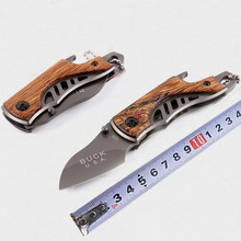Outdoor Knife Multifunction Folding Wood Handle Tactics Memburu Survival Mini Portable Camping Camping Pocket EDC Blade Tools