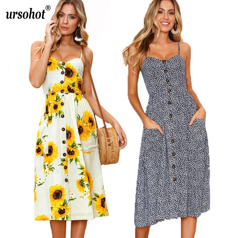 Sexy V Neck Strap Gesmokt Floral Print Sommer Kleider Weibliche ...