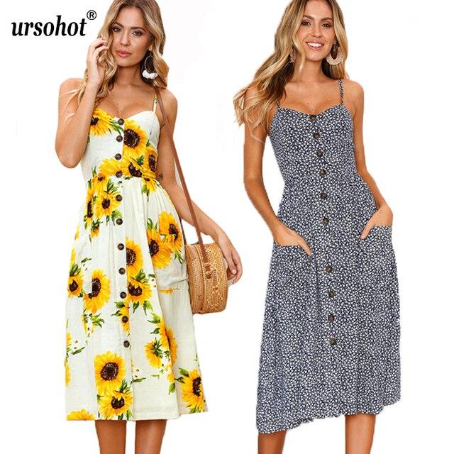 Sommer Kleider Strap Floral Neck Weibliche V Gesmokt Sexy Print SVpUMGqz
