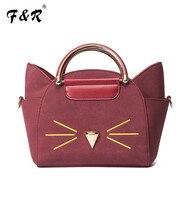 Original New Women Handbag Fashion Cat Costume Shopper Bag Mini Purse Blue Black Leather Handbag Fashion
