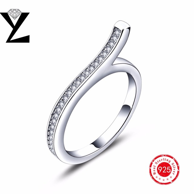 Classic 100 Real 925 Sterling Silver Finger Ring AAA CZ Diamond