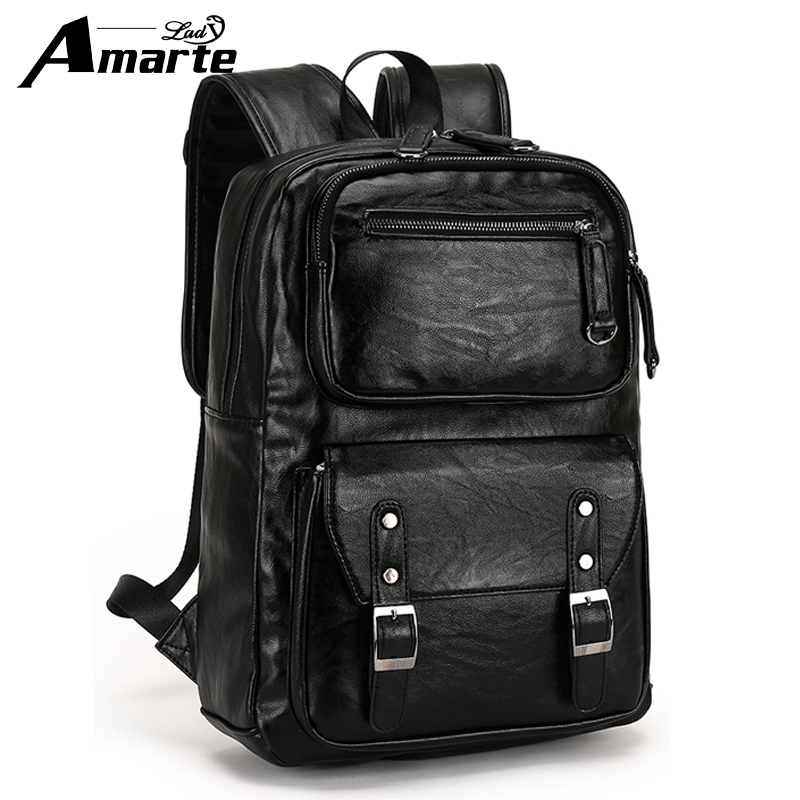 2018 Amarte New Fashion Preppy Style Leather School Backpack Bag for College Simple Design Men Casual Daypacks Mochila Male2018 Amarte New Fashion Preppy Style Leather School Backpack Bag for College Simple Design Men Casual Daypacks Mochila Male