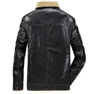 Image 2 - FGKKS 2020 Men PU Leather Jacket Winter Thick Warm Pilot Jacket Male Fur Collar Jacket tactical Men Jacket Coat