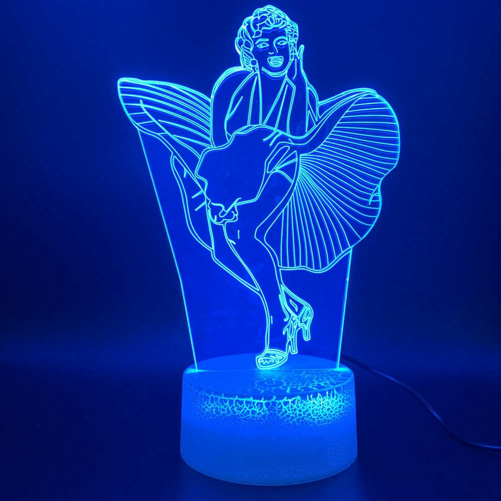 3d Led Night Light Lamp Celebrity Marilyn Monroe Dress Figure Touch Sensor Light Home Decoration Birthday Gift Baby Nightlight in LED Night Lights from Lights Lighting