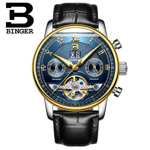 Switzerland Binger Brand Men's Fashion Casual Sport Watches Men Waterproof Leather Watch Man military Clock Relogio Masculino weide popular brand new fashion digital led watch men waterproof sport watches man white dial stainless steel relogio masculino