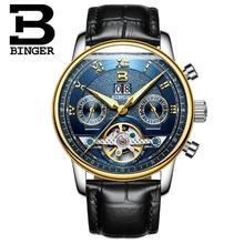 Switzerland Binger Brand Men's Fashion Casual Sport Watches Men Waterproof Leather Watch Man military Clock Relogio Masculino
