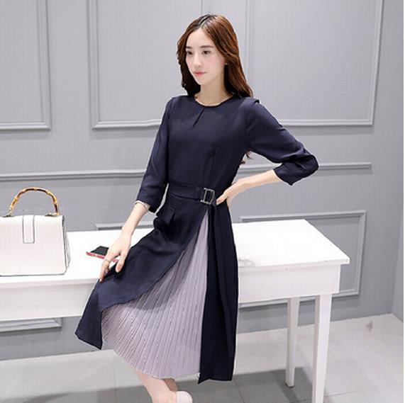 Women's Clothing Clobee Line Tum-down Collar Brief Women Dress Vintage Ink Painting Loose Laiies Dresses Korean Autumn Long Elegant Tunic V264
