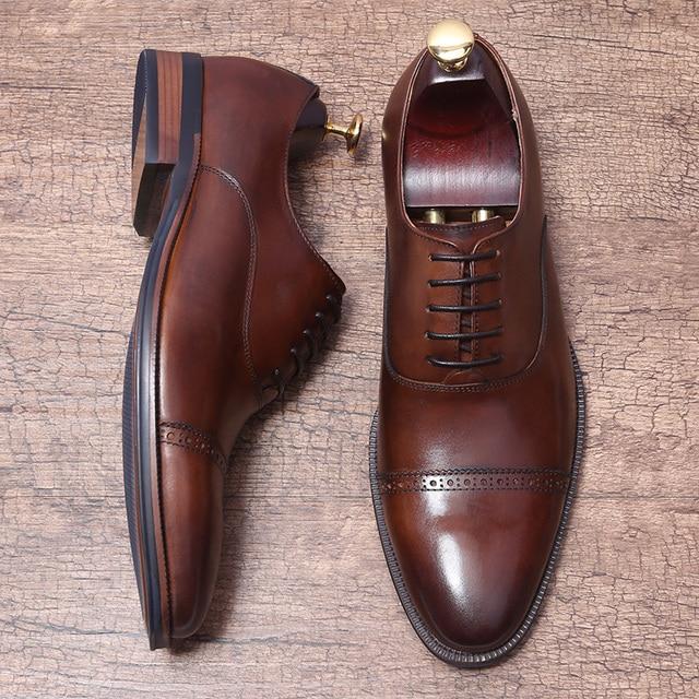 031b11185 Hecho a mano de estilo británico cuero genuino traje Formal vestido zapatos  vaca de grano lleno