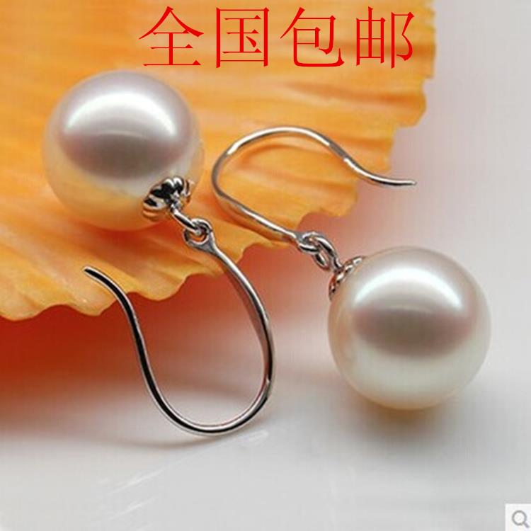 925 silver real natural big The classic natural freshwater pearl earrings Earrings Ear Hook Earrings 925 Silver Earrings genuine shell detail hook earrings