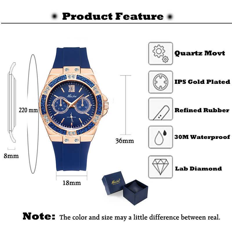 Missfox 女性のクォーツ時計ファッションブリンブリンゴールド女性腕時計ブルーラバーバンドクリスタル女性のためのダイヤモンドホット販売時計 Xfcs 新しい
