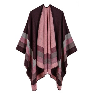 Image 1 - 2019 New Womens Winter Scarf Womens Cashmere Ponchos and Capes Fashion Design Pashmina Ladies Knit Shawl Cape Vintage Blanket