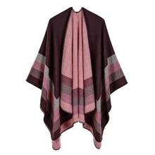 2019 ใหม่ผู้หญิงฤดูหนาวผ้าพันคอสตรีผ้าขนสัตว์ชนิดหนึ่ง Ponchos และ Capes แฟชั่น Pashmina Ladies ถัก Shawl Cape Vintage ผ้าห่ม