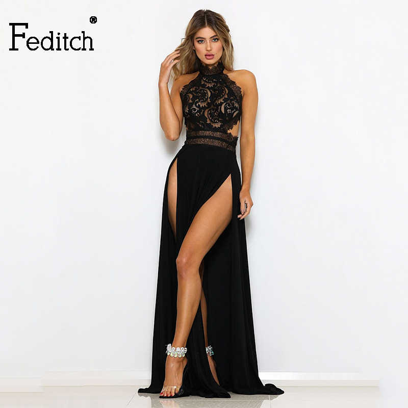 671c0375 Feditch 2018 New Elegant Halter Summer Dress Evening Party Long Maxi Dress  Lace Backless High Split