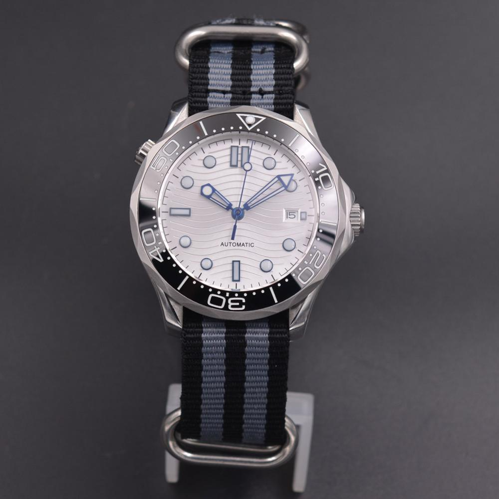 41mm Corgeut  Mechanical Men's Watch Luminous Rotating Bezel Sapphire Glass Date Nylon Strap Automatic Mens Watch