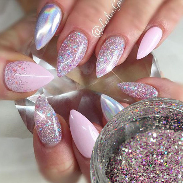 1box Laser Nail Glitter Mixed Glitters Holo Nail Sequin Paillette