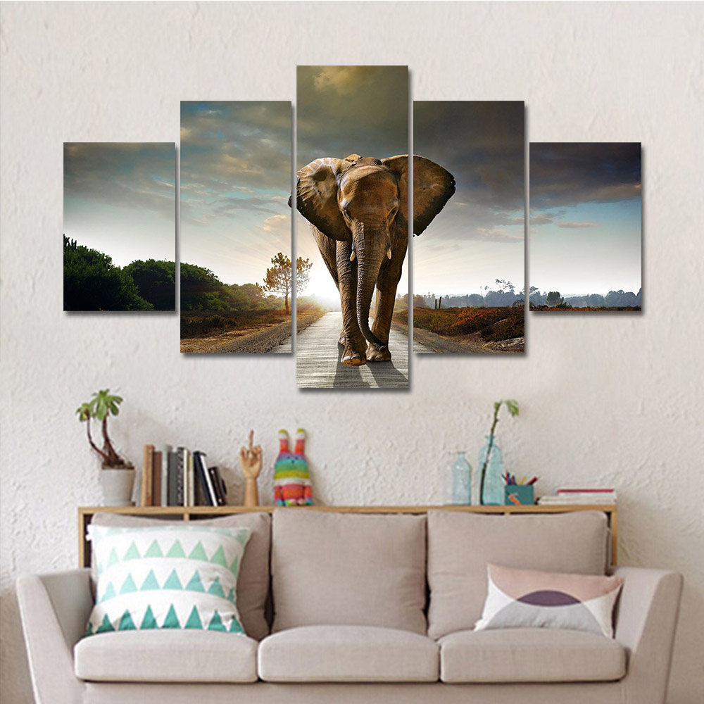 Drop Shipping Hot Modern Printed Elephant Oil Painting 5