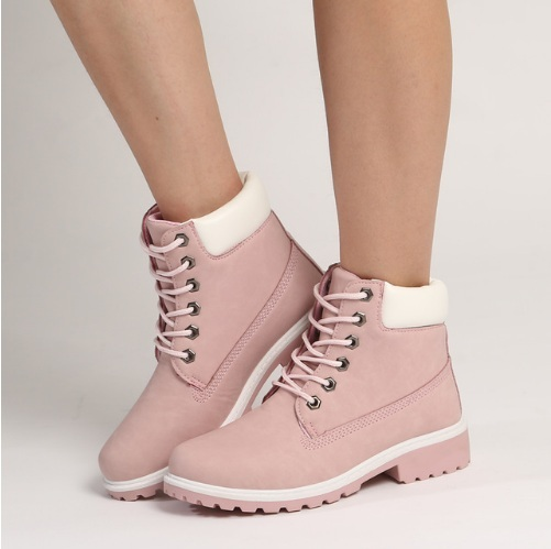 747751b6257 MONMOIRA Lace up Fur Warm Winter Boots For Women Round Toe Pink Martin Boots  Short Plush Warm Ankle Boots SWE0180