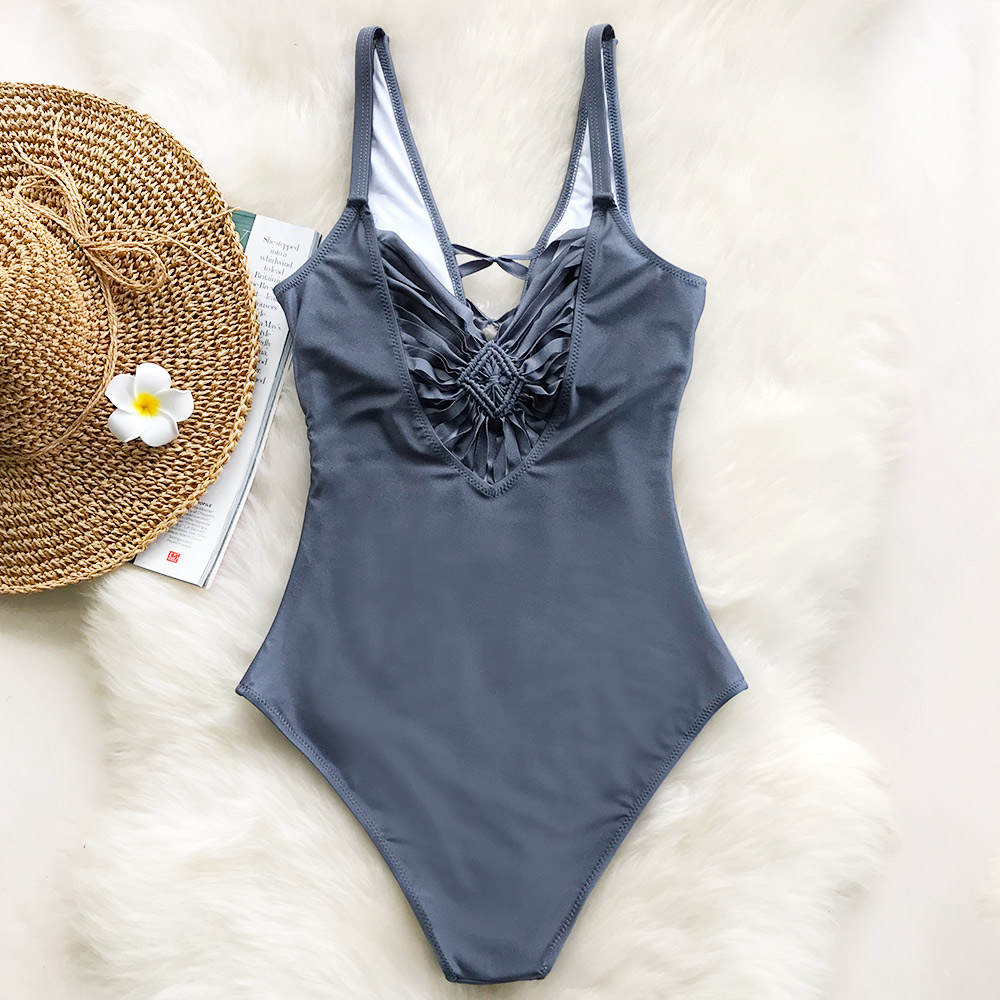 Cupshe Good Grace Solid One-piece Swimsuit Deep V neck Summer Sexy Bikini Set Ladies Beach Bathing Suit Swimwear