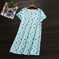 2017 Nova Marca de Verão Mulheres Homewear Ocasional dos desenhos animados camisola Feminina Manga curta O Pescoço collar Senhoras vestido camisola de Algodão Macio