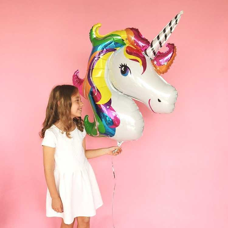 Big Unicorn บอลลูนงานเลี้ยงวันเกิดตกแต่งฟอยล์บอลลูนงานแต่งงาน Baby Shower Girl Decor สีชมพูขนาดใหญ่ Rainbow Mylar Balons Favor