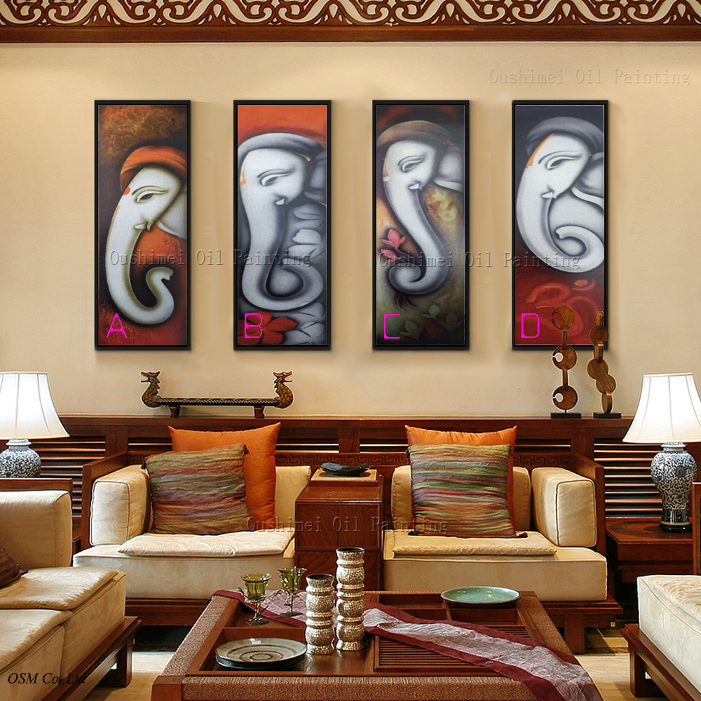 Get elephant canvas painting aliexpress exotic living room decoration in orange tones with affordable furniture