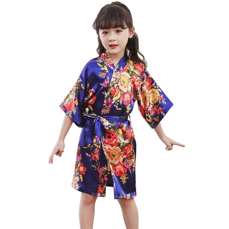 2019 Zomer Hot Peuter Baby Kid Meisjes Bloemen Zijde Satijn Kimono Gewaden Badjas Nachtkleding Kleding Modis Badjas Koop F1