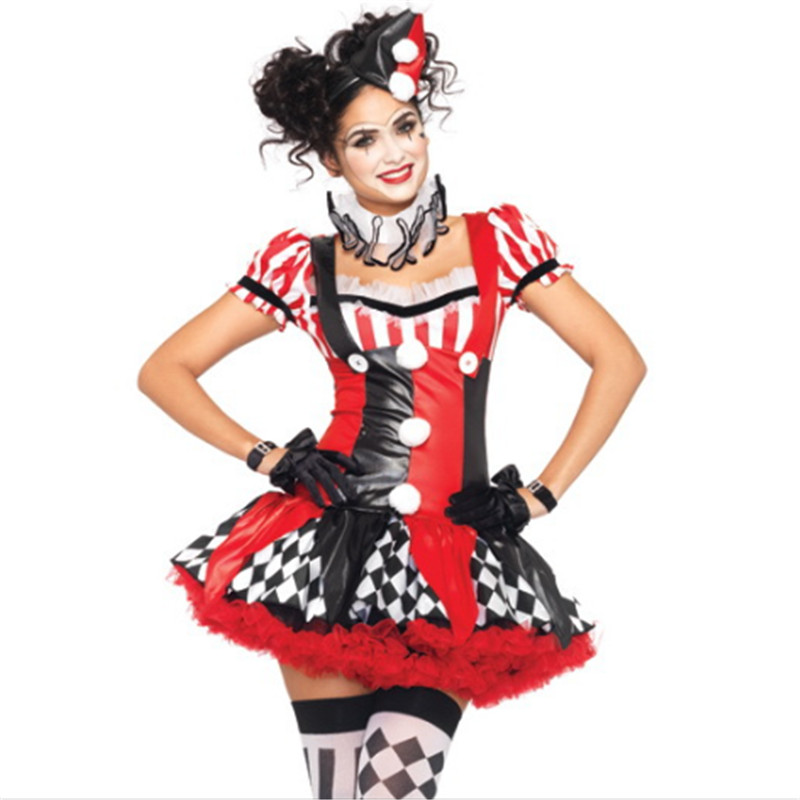 high quality Adult Clown Costume Halloween For Girl Sexy Tee Dress 2018 New Carnival Party club Sexy poker Clown Cosplay Costume
