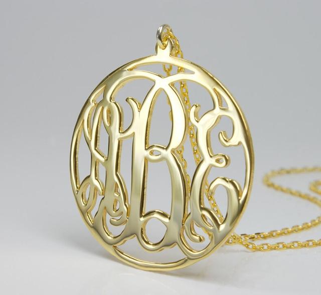 Custom monogram necklacegold circle pendant necklaceunique custom monogram necklacegold circle pendant necklaceunique personalized monogram initial name necklace aloadofball Image collections