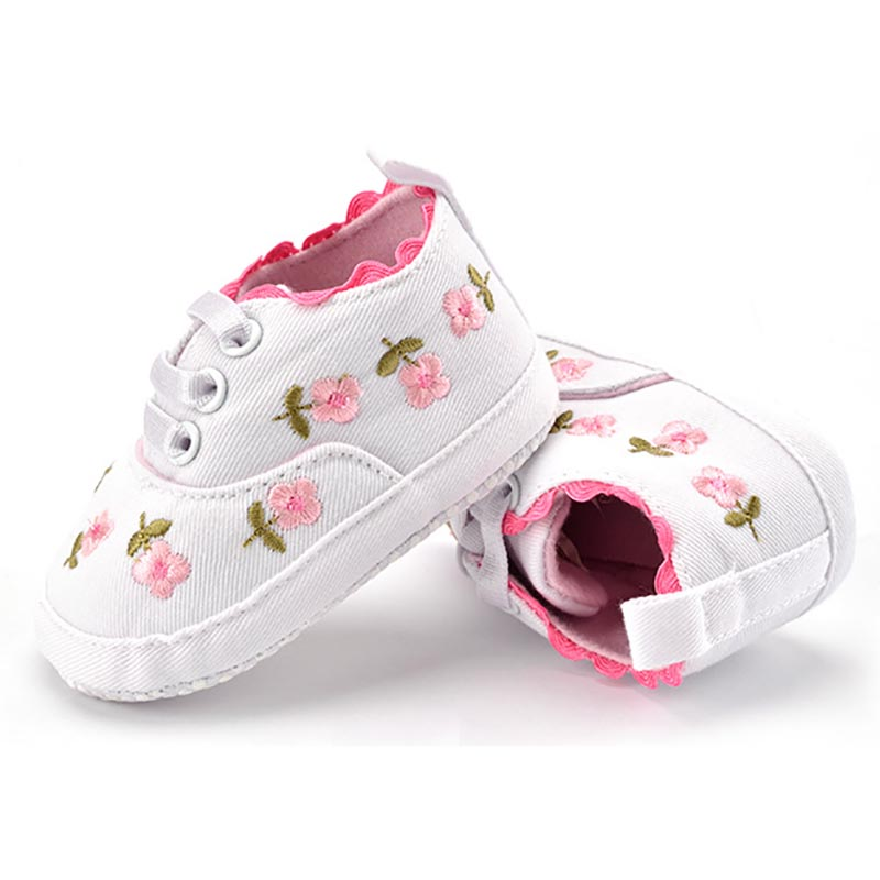 Baby Girl White Lace Floral Embroidered Soft Pre-walker Toddler Kids Shoes 2
