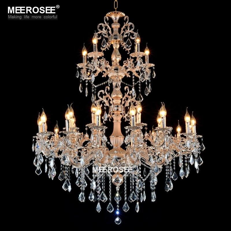 Большой Цвет серебристый, Золотой Цвет люстра лампа роскошный кристалл освещение светильники 3 яруса 29 оружия Люстра для холле отеля Рестор