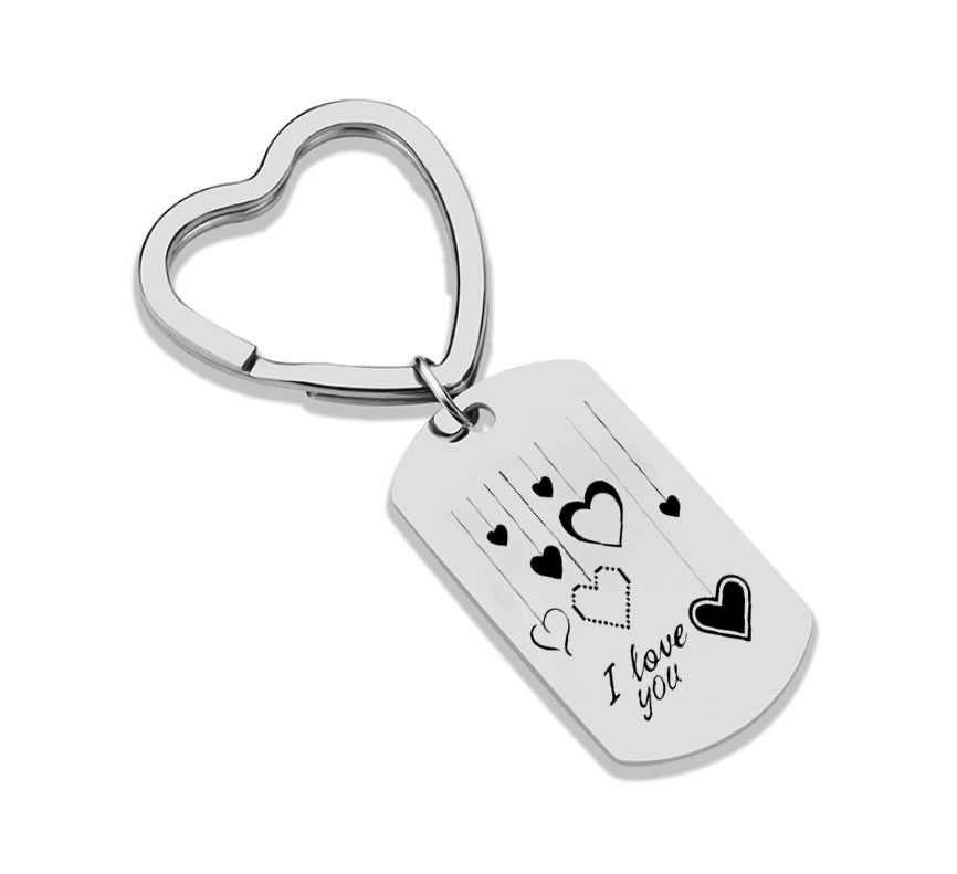 Keychain Presente Do Dia dos namorados EU Te Amo Aço Inoxidável Charme Chaveiro Presentes Namorada Namorado