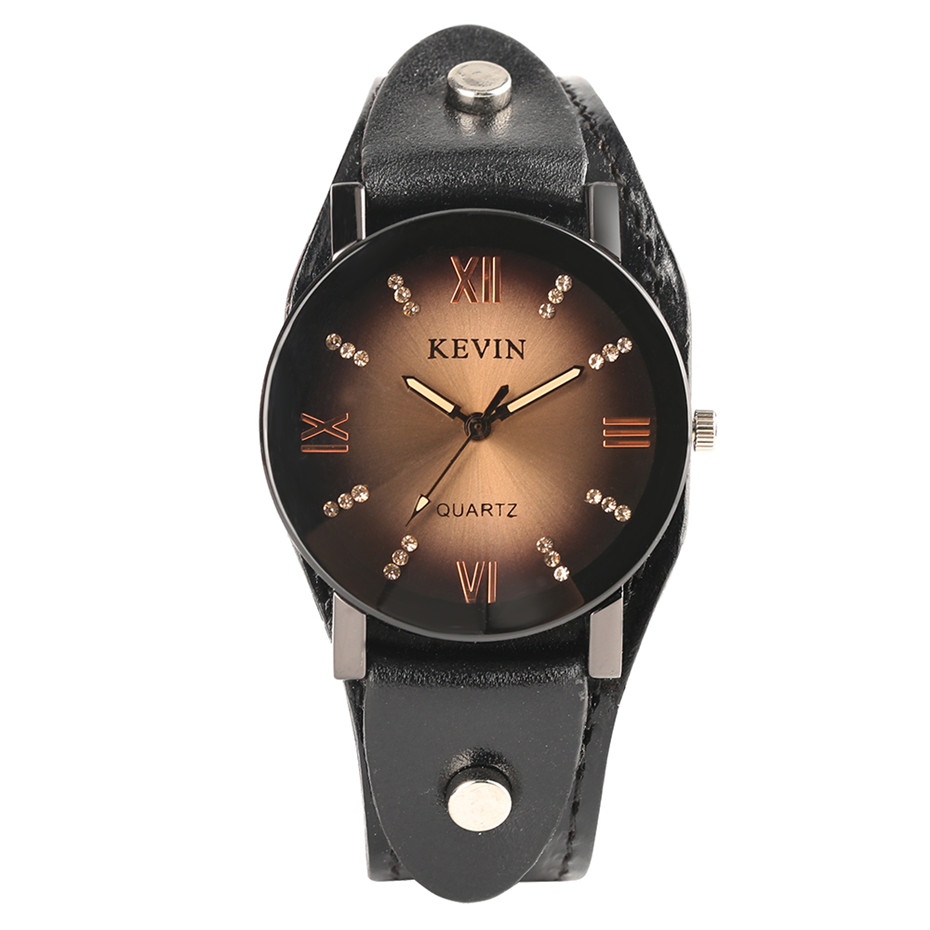 KEVIN Steampunk Style Quartz Wrist Watch Men Leather Strap Crystal Creative Watches Rock Punk Casual Male Clock Gifts 2018 New