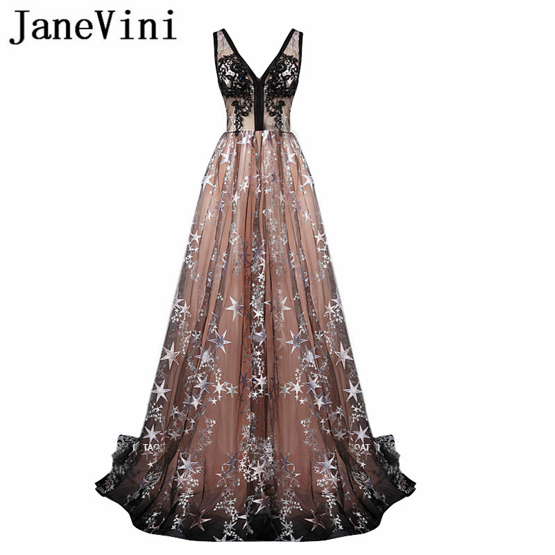 JaneVini 2018 Beatiful Long   Bridesmaid     Dresses   A Line Sexy V-Neck Beads Black Lace Applique Sweep Train Vestidos De Festa Longos
