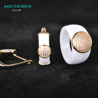 MECHOSEN Upscale Ceramic Jewelry Sets Earrings Rings CZ Zircon Crystal Round Anillos Copper Aretes Porcelain Fine